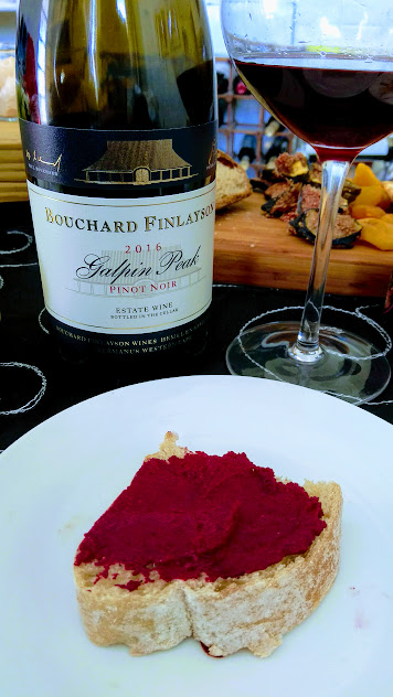 bouchard finlayson pinot noir paired with roasted beetroot humus