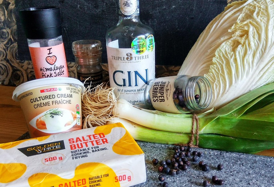 ingredients for gin infused braised cabbage
