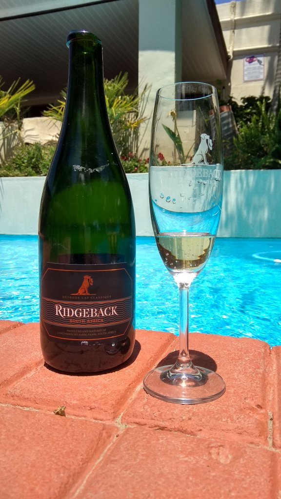 enjoy a lovely glass of bubbles while chilling at the pool