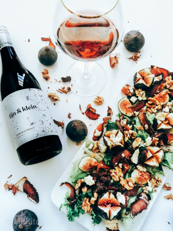 fijn en klein wyn with an autumn salad of biltong blue cheese and ripe figs
