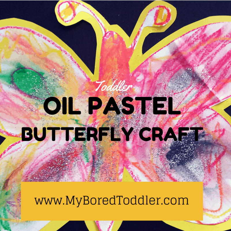 Oil pastel butterfly craft for toddlers