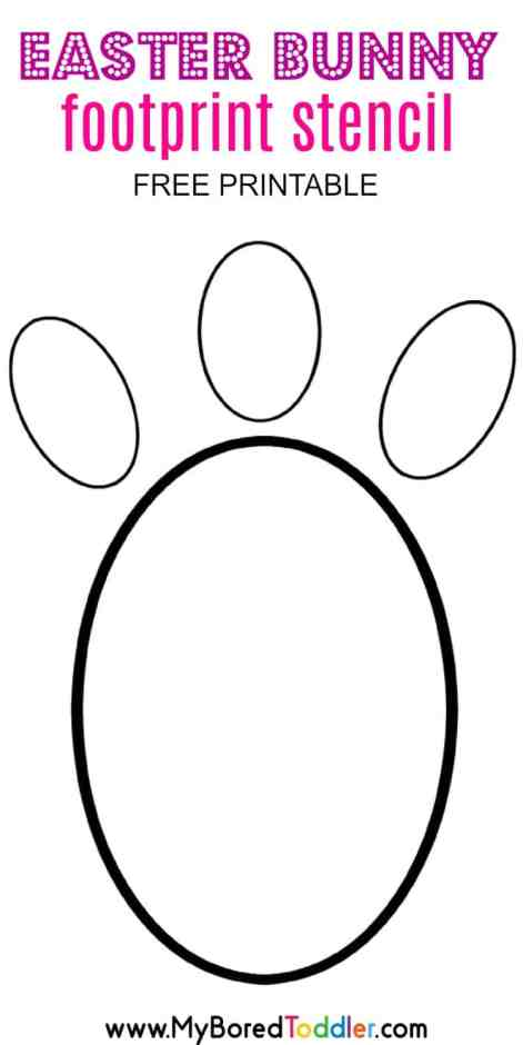 easter bunny footprint stencil free printable pinterest