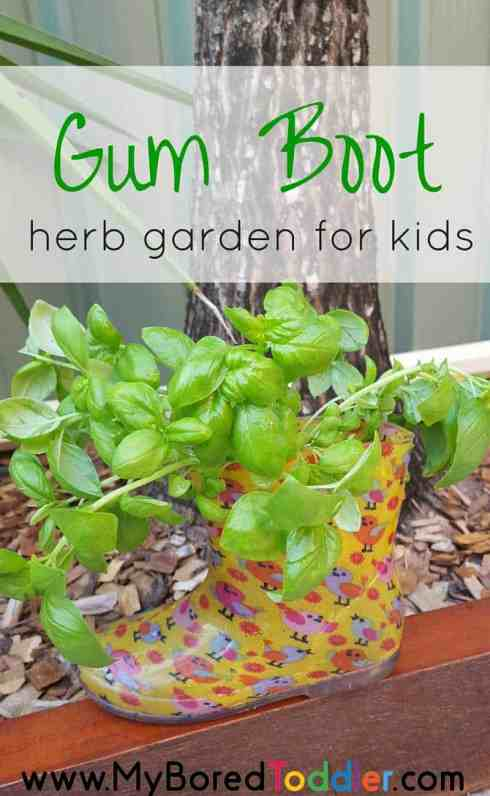 gum boot herb garden for kids pinterest
