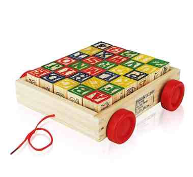wooden block wagon for 1 year olds