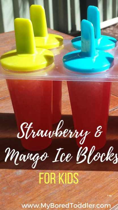 Strawberry & mango iceblocks for kids pinterest