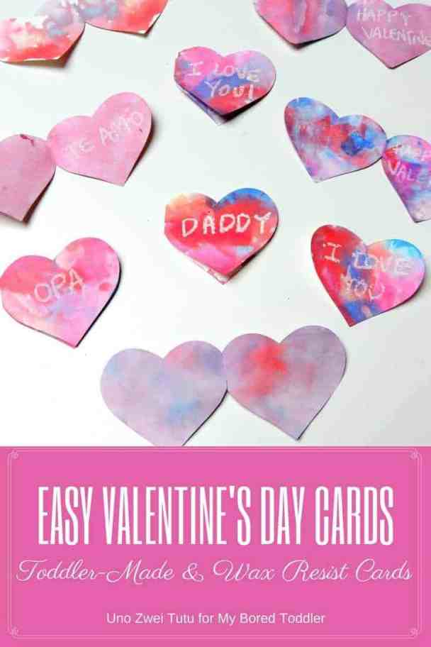 toddler made wax resist cards for valentine's day - a great toddler craft activity using hearts and crayons.