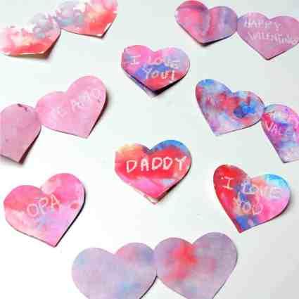 wax resist valentine's day heart cards