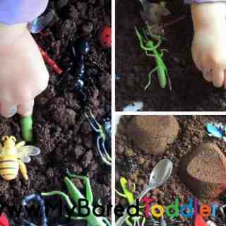 Insect sensory bin for toddlers taste safe sensory play idea. A fun toddler activity involving sensory play. A great tuff tray activity.