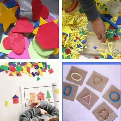 Shape activities for toddlers window shape matching shape sensory bin play shape collage sensory touch and feel shapes for toddlers