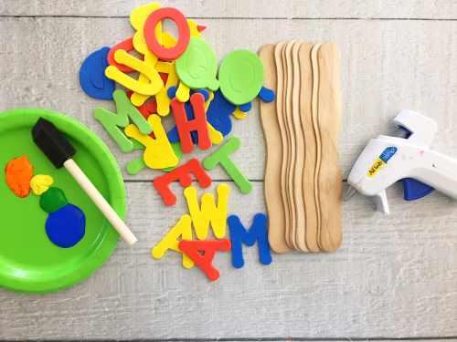 DIY foam name stamps supplies