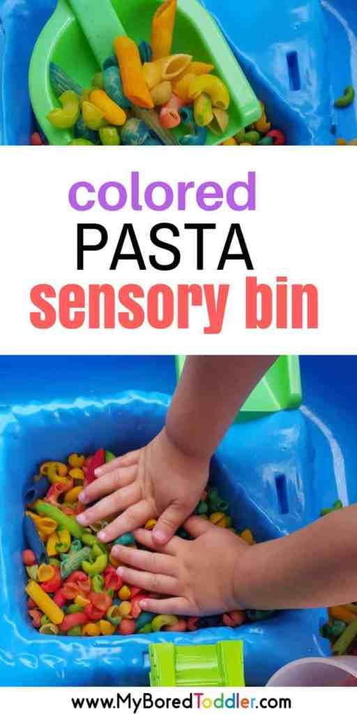 colored pasta sensory bin pinterest