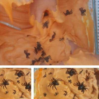 halloween shaving cream and spiders sensory bin for toddlers image 3