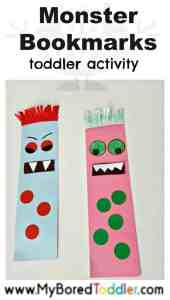 monster bookmarks toddler craft activity pinterest a fun halloween cutting and gluing activity for 1 year olds, 2 year olds and 3 year olds. A great fine motor toddler activity and toddler craft.