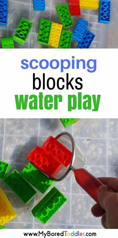 scooping blocks water play . A fun toddler water play activity or sensory bin.