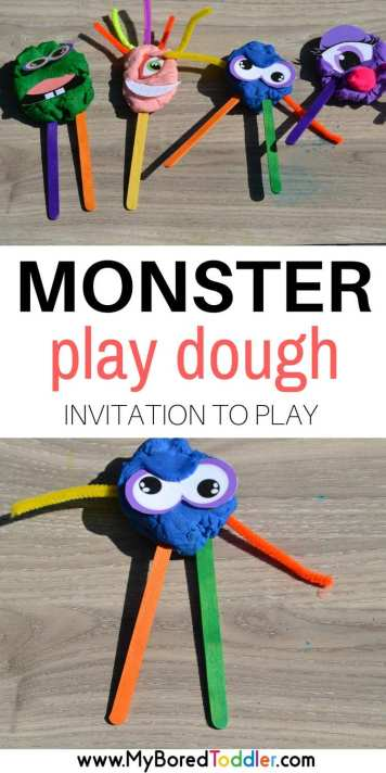 Monster Play Dough Invitation to play pinterest. This fun Halloween inspired play dough activity is a great sensory Halloween activity. It makes regular play doh much more fun!