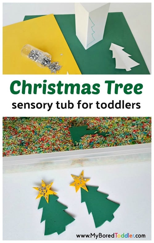 Christmas tree sensory tub for toddlers. An easy rice sensory bin. Christmas toddler sensory play idea. Christmas sensory tub. Christmas sensory bin #sensorybin #toddlerchristmas #sensorytub