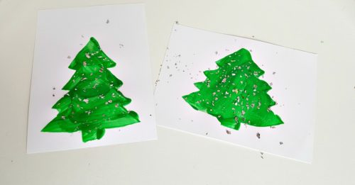 Christmas tree stencil craft painting with glitter