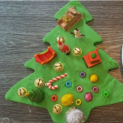Giant playdough Christmas tree invitation to play finished 1