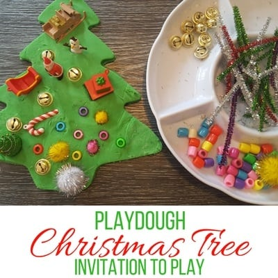 Giant Playdough Christmas Tree Invitation to Play