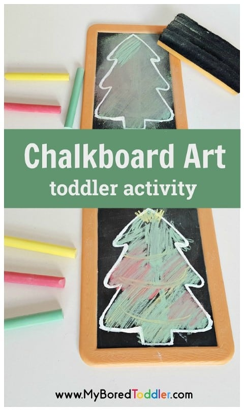 Chalkboard Christmas tree craft activity for toddlers. An easy christmas art activity for keeping toddlers busy at Chritmas. #toddlerchristmas #christmascraft #toddlercraft