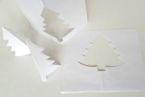 how to make Christmas tree stencil craft for toddlers