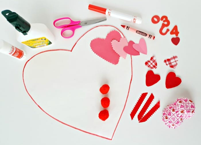 supplies for valentine collage for toddler activity