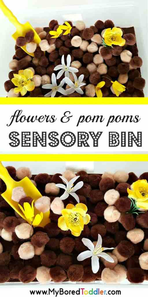 flowers and pom poms sensory bin for toddlers spring sensory bins #sensorybin #toddlercraft #toddleractivities #senosryplay