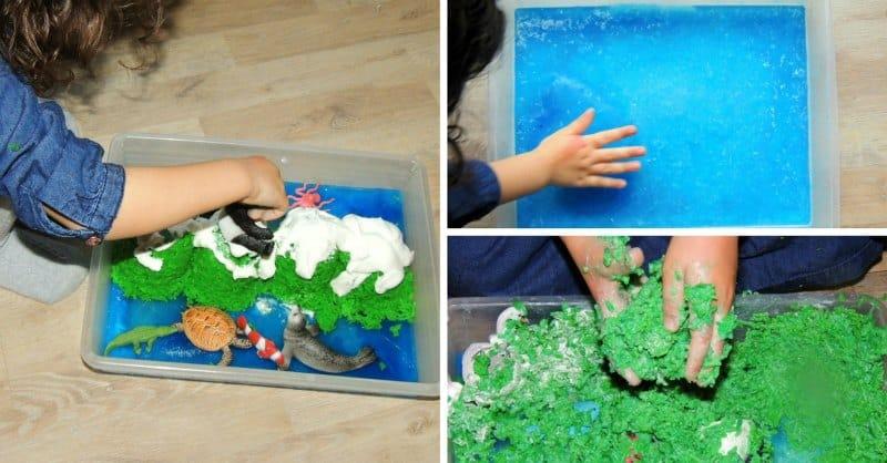 playing with an edible sensory bin