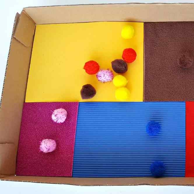pompoms count and color match sensory activity for toddlers
