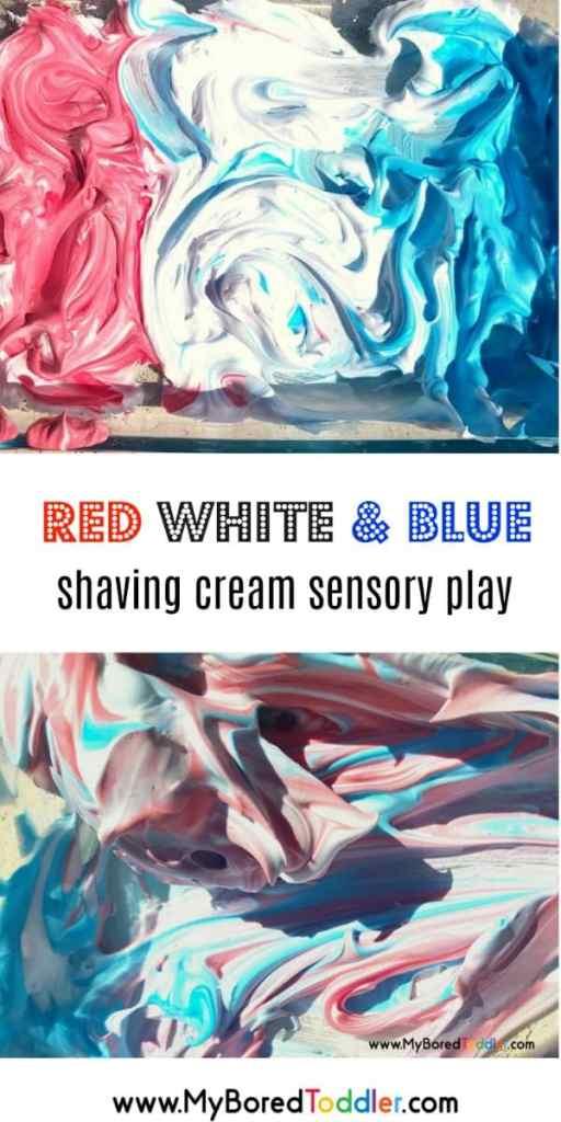 red white blue shaving cream sensory play pinterest