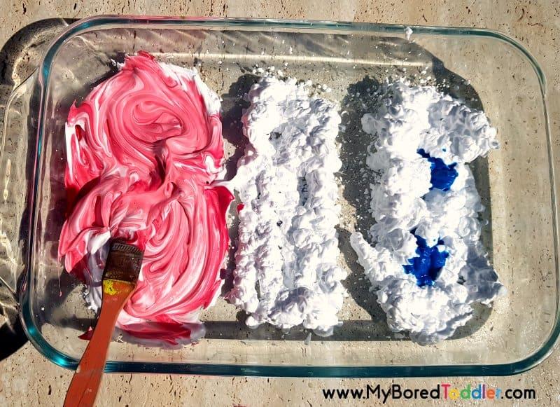shaving cream red white blue sensory play step 3