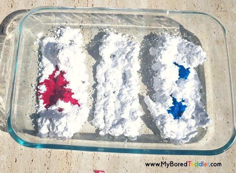 shaving cream red white blue step 2