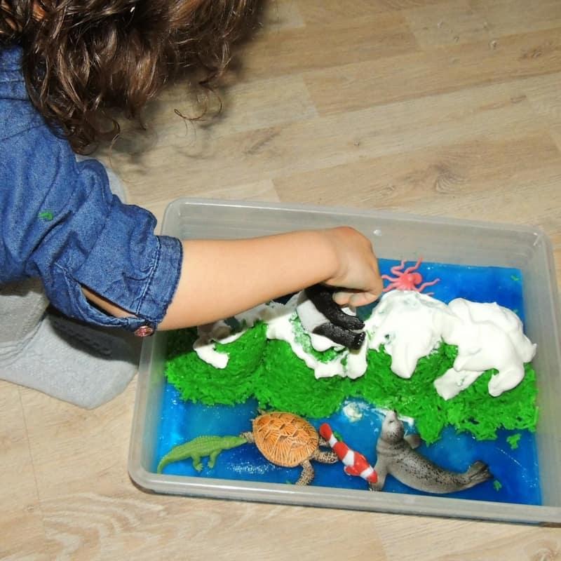 Winter Edible Sensory Bin for Toddlers