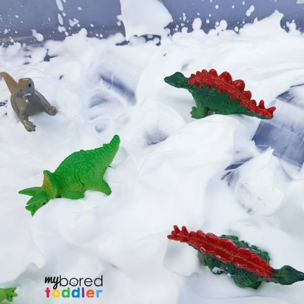 Messy Play Shaving Cream And Dinosaurs 1 My Bored Toddler
