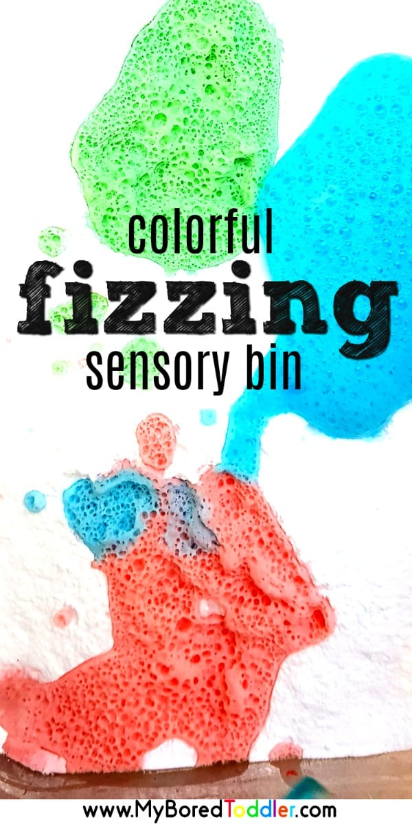 colorful fizzing sensory bin for toddlers baking soda and vinegar