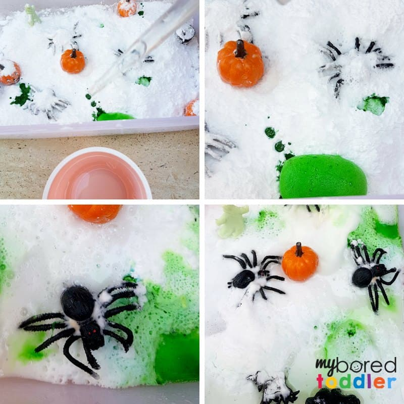 fizzing Halloween science sensory bin for toddlers bicarb and baking soda and vinegar stem steam