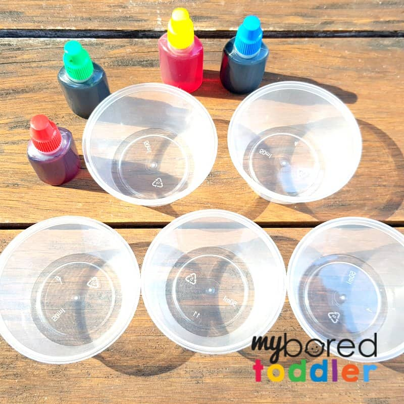 sensory bin that fizzes with bicarb soda baking soda and vinegar colorful set up 2