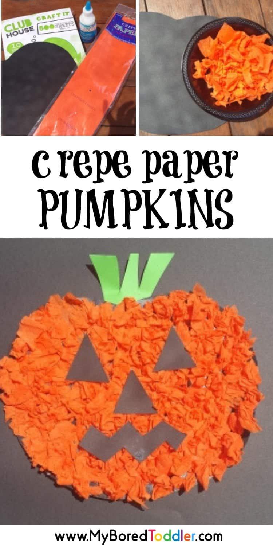 Crepe Paper pumpkin craft for toddlers scrunching crepe paper pinterest