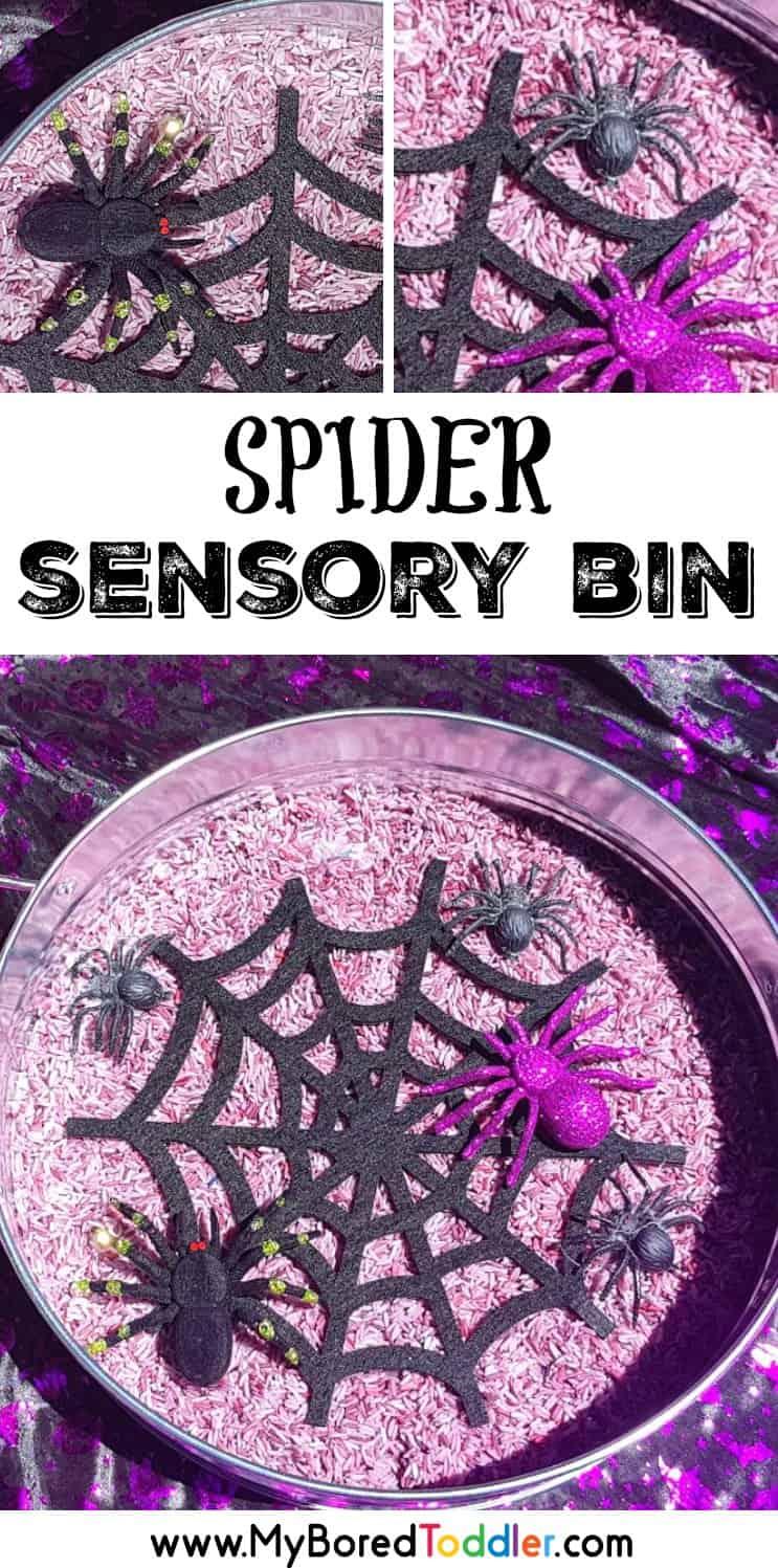 Halloween spider sensory rice bin for toddlers pinterest