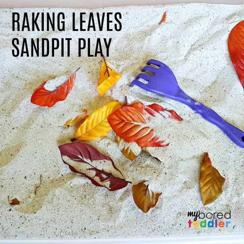 Raking Leaves Fall Sand Play