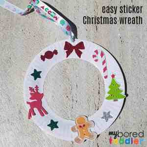 easy sticker christmas wreath for toddlers finished feature instagram