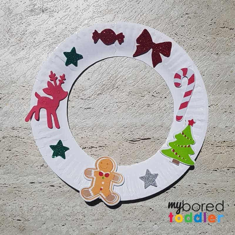 easy sticker christmas wreath for toddlers finished stickers