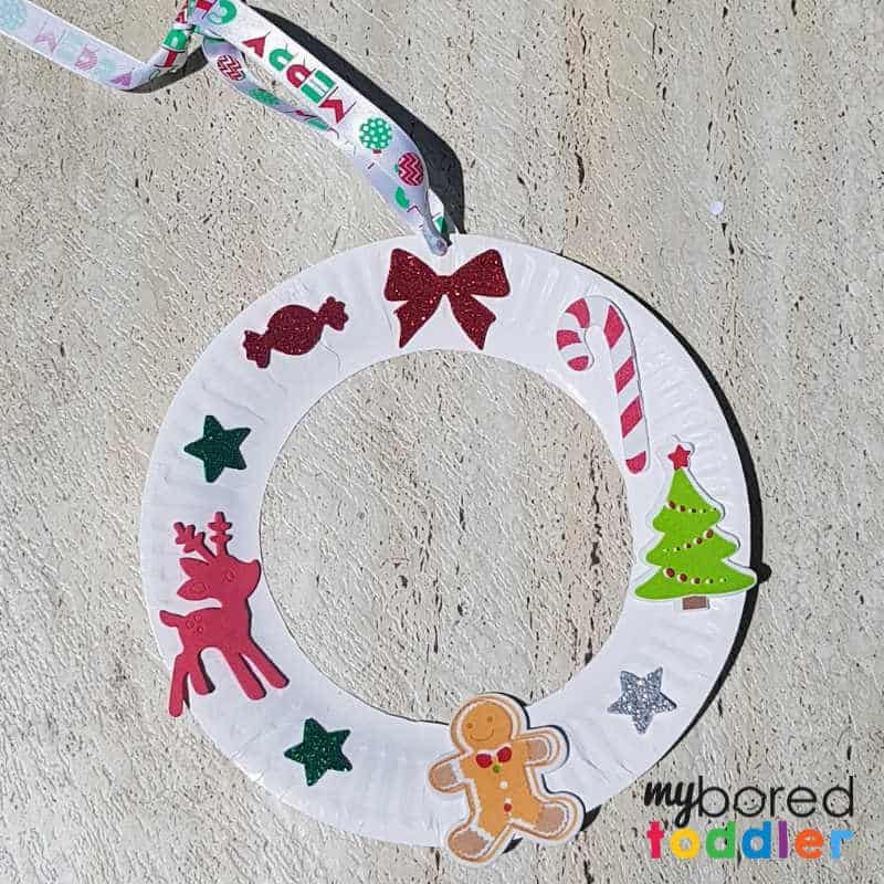 easy sticker christmas wreath for toddlers finished with logo