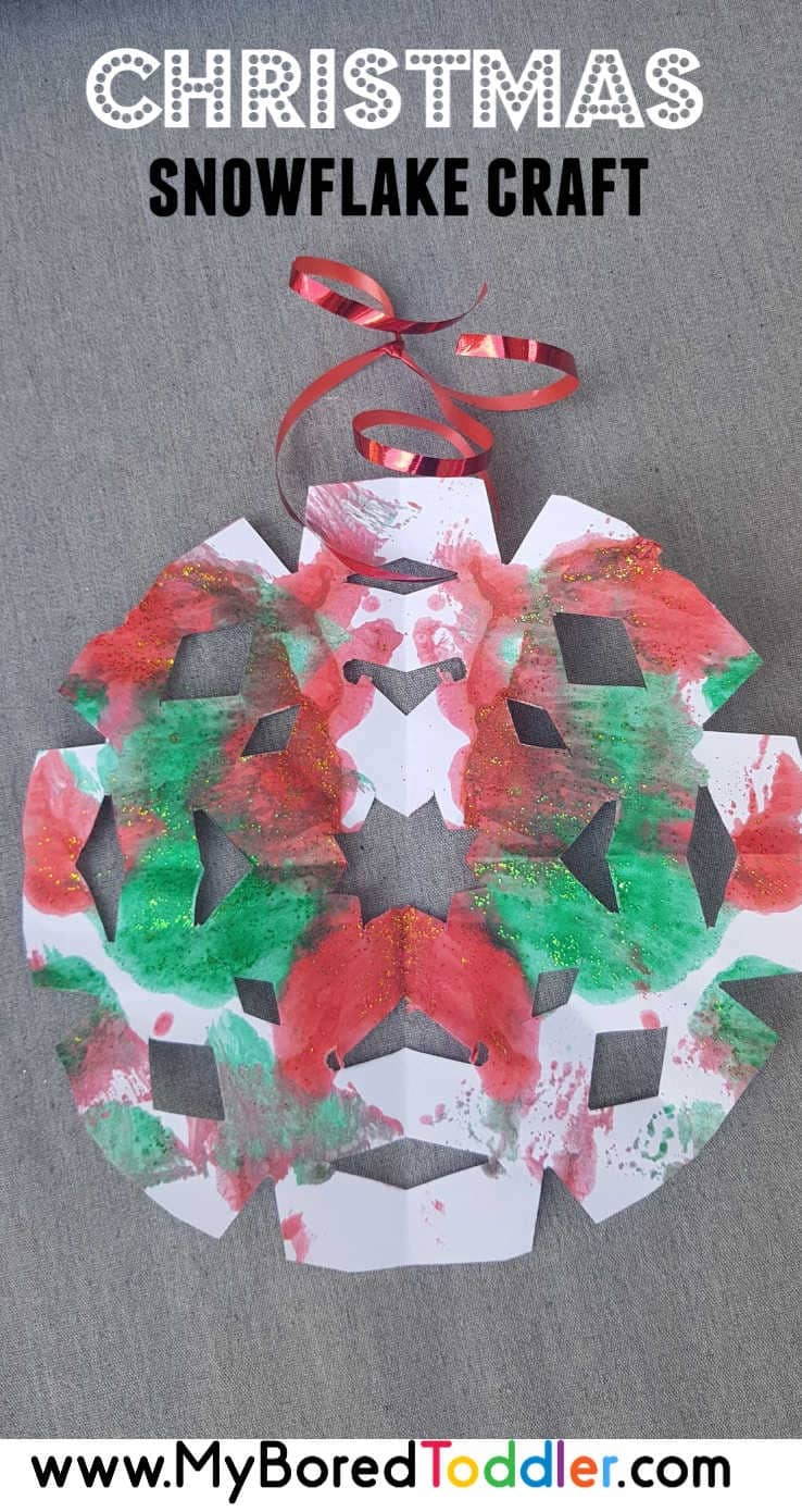 easy christmas painted snowflake craft pinterest