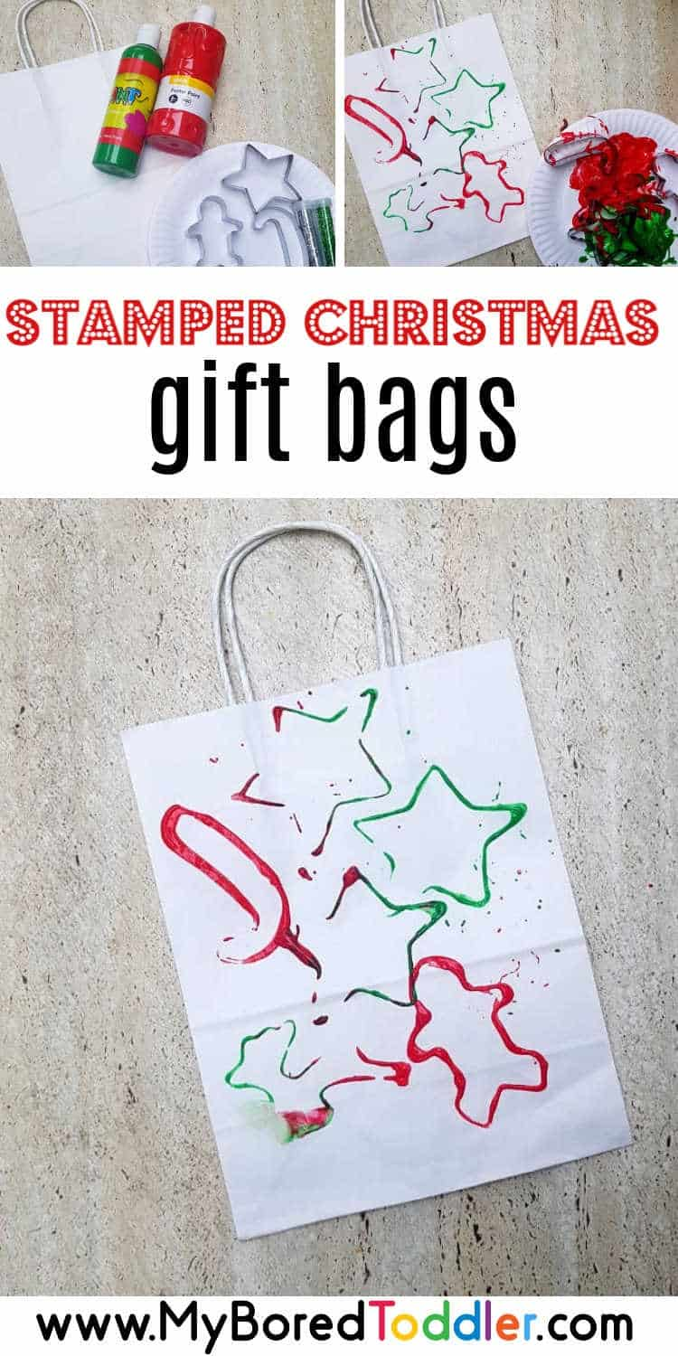 easy stamped Christmas gift bags for toddlers pinterest