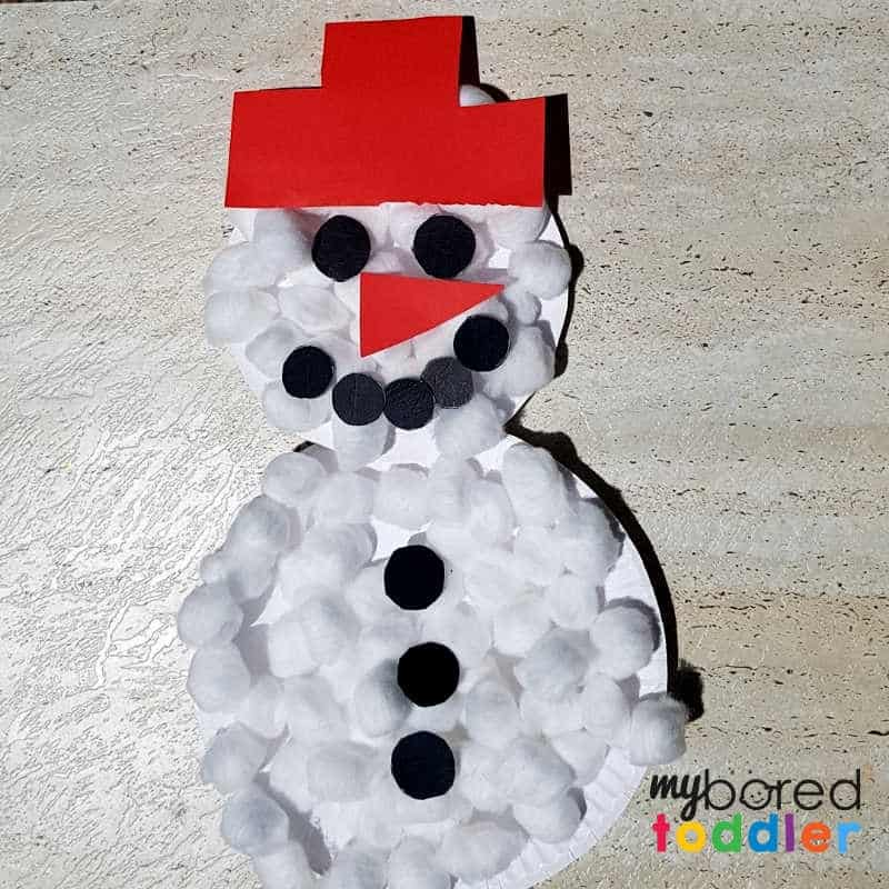 paperplate snowman craft covered in cotton wool balls and black circles and nose and hat (1)