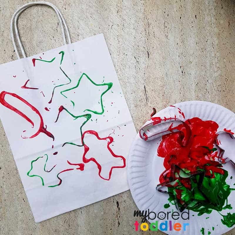 stamped gift bag craft for toddlers and preschoolers stamping