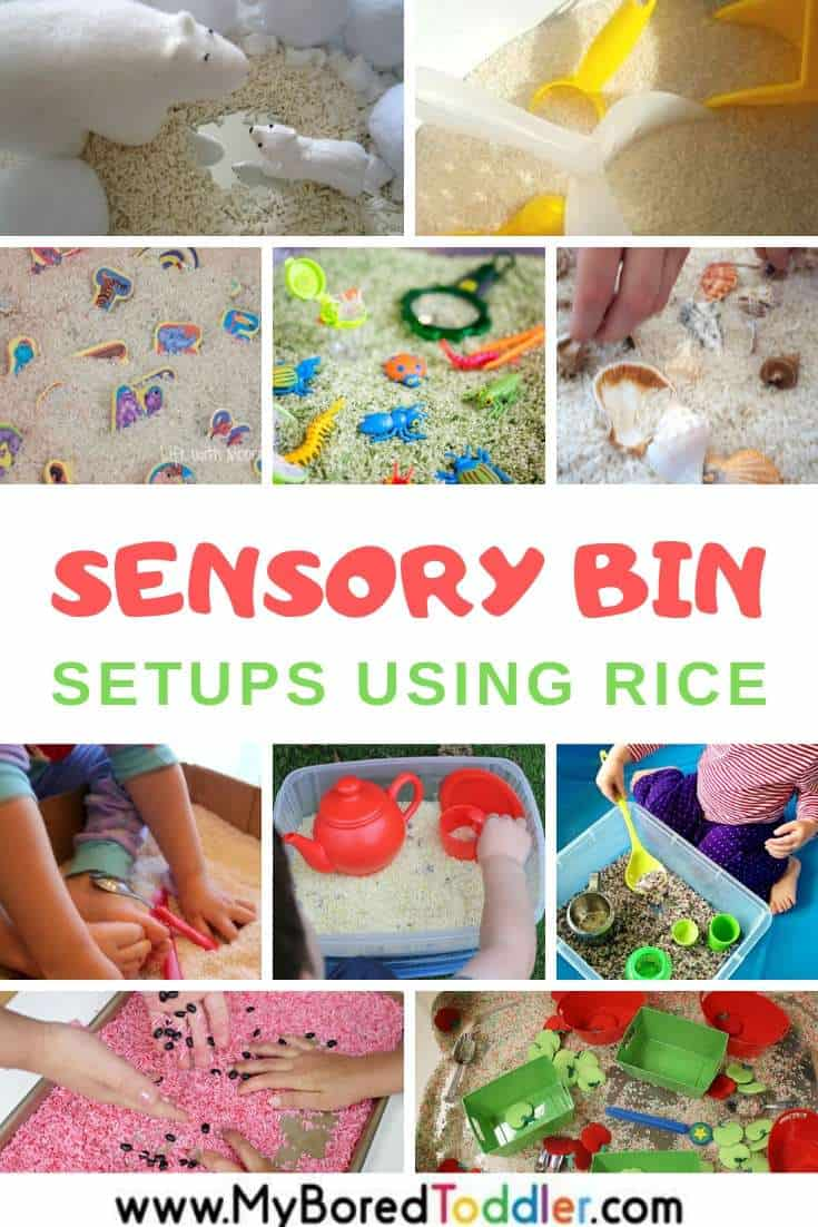 Sensory bins based on plain and colored rice for toddlers and preschoolers