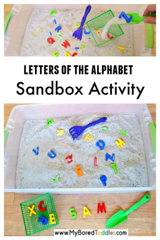 Toddler sandbox literacy and sensory activity and easy alphabet sensory bin for toddlers