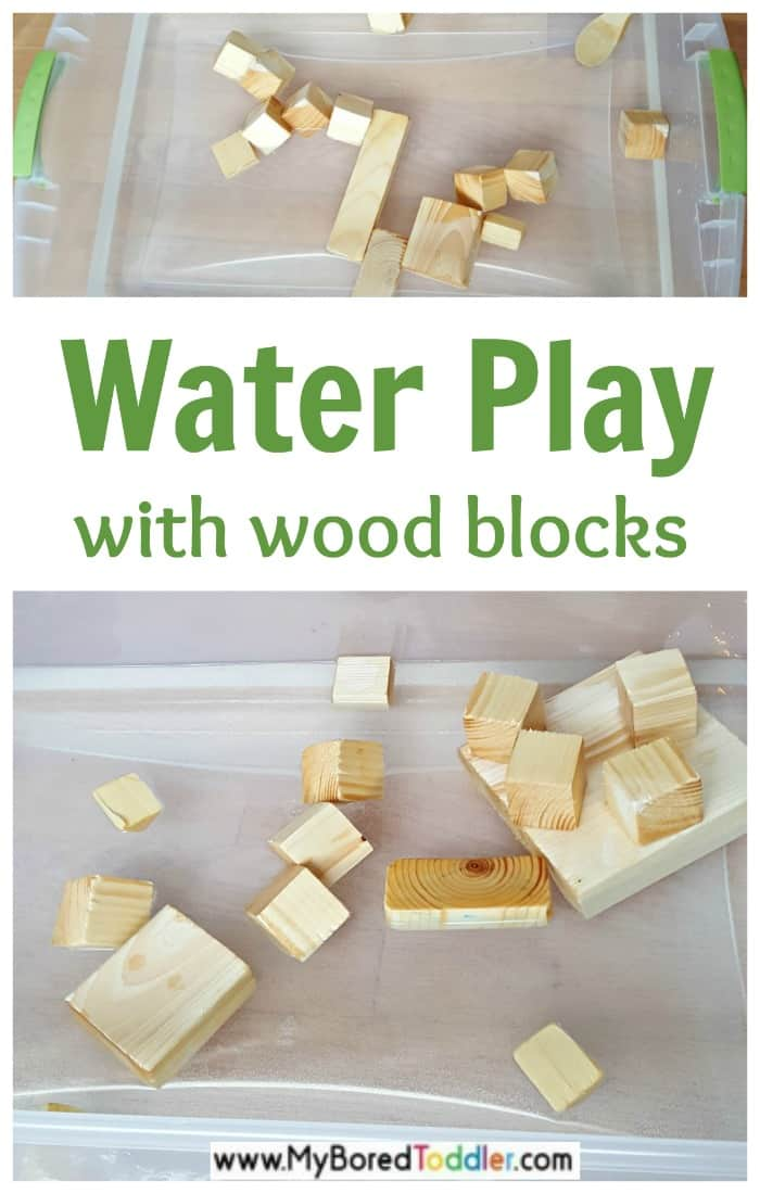 Water play with wooden blocks and wood toys for toddlers